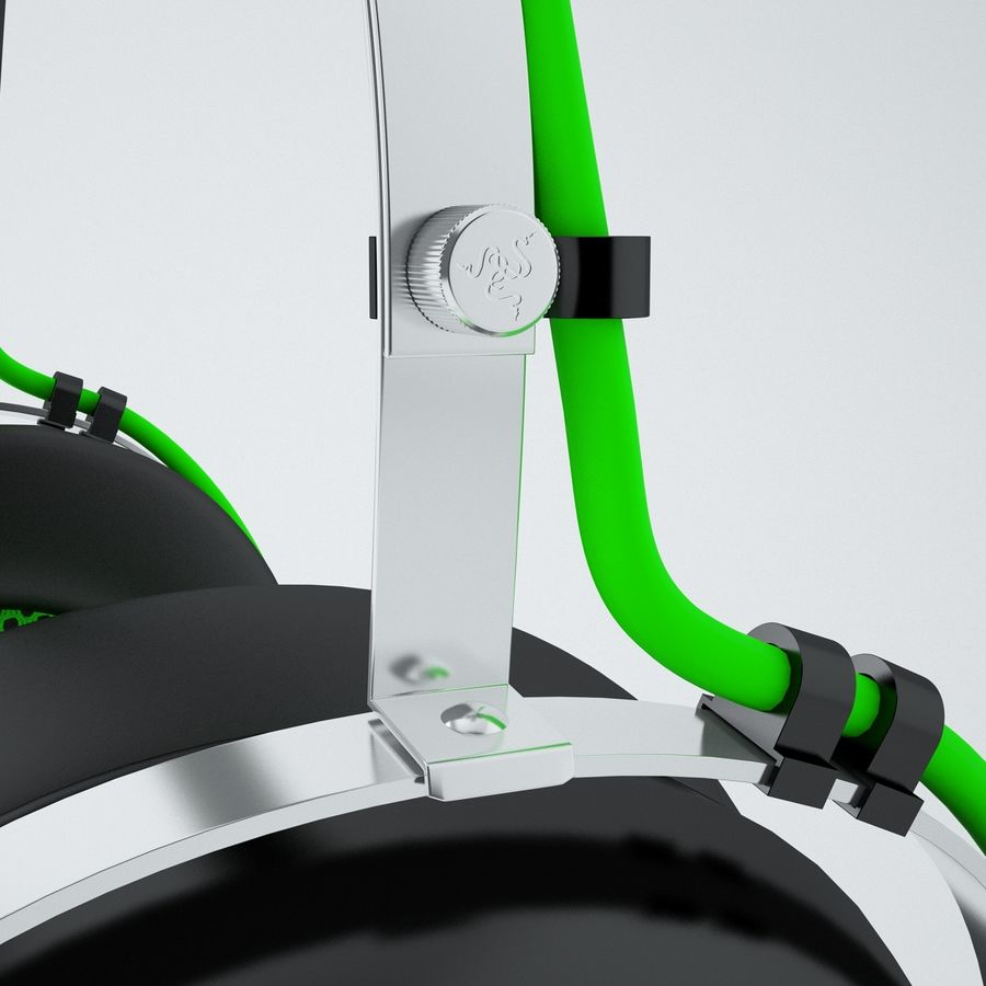 Razer Black Shark Analog Gaming Headset royalty-free 3d model - Preview no. 5