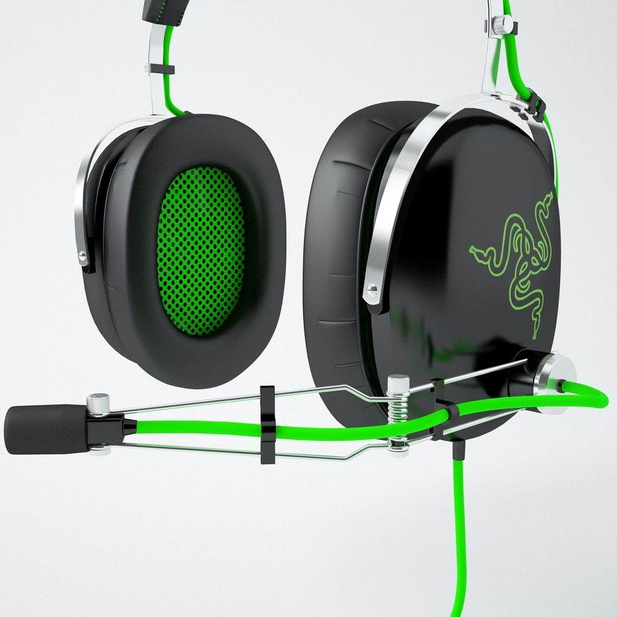 Razer Black Shark Analog Gaming Headset royalty-free 3d model - Preview no. 4