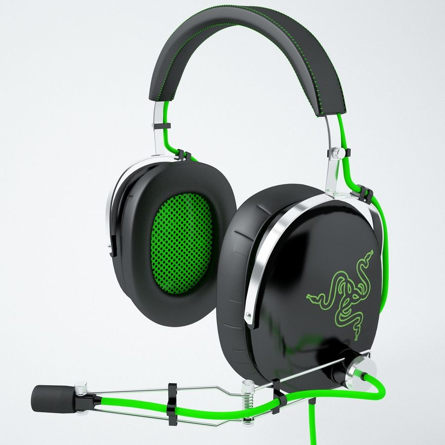 Razer Black Shark Analog Gaming Headset royalty-free 3d model - Preview no. 2