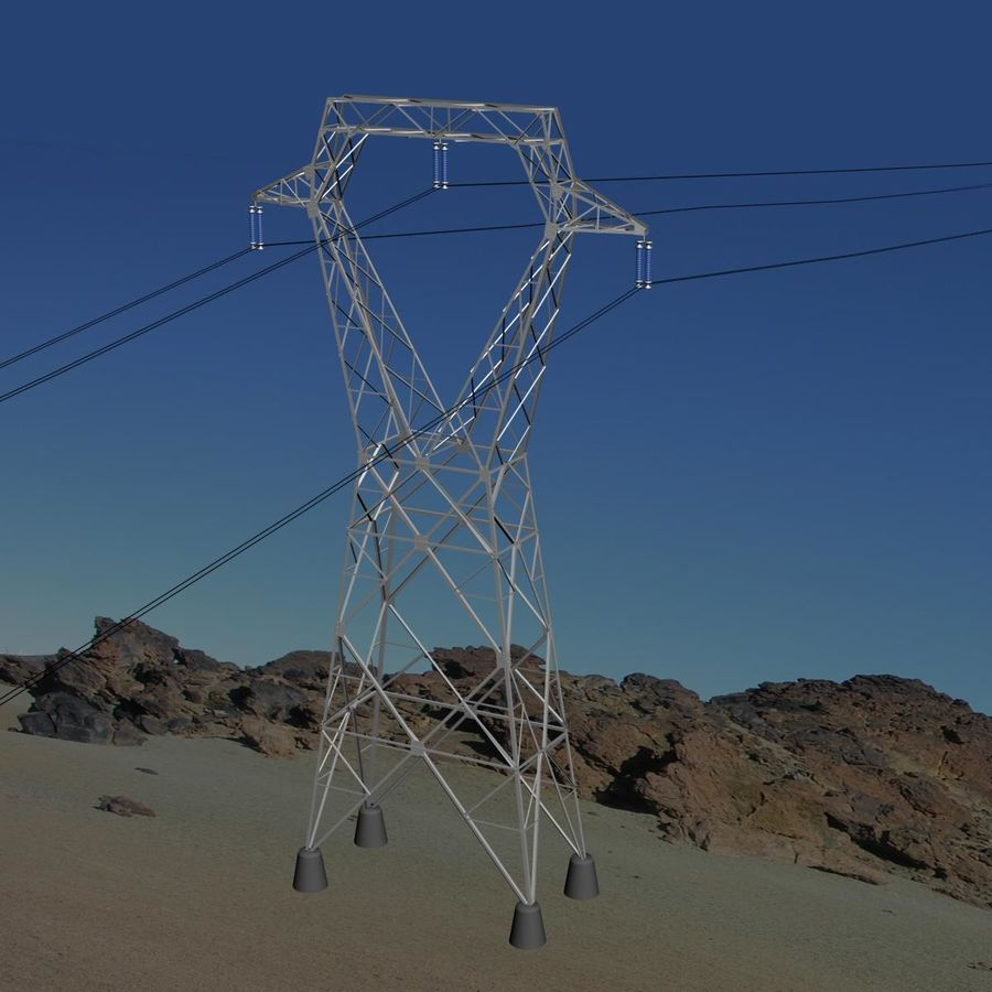 Electricity Pylon royalty-free 3d model - Preview no. 2