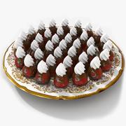 チョコレートプレートのイチゴ 3d model