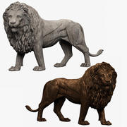 Sculpture de lion 3d model