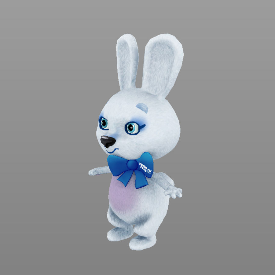 rabbit, mascot of the Winter Olympics in Sochi royalty-free 3d model - Preview no. 9