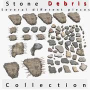 Rede de haste de metal de vergalhão de casa de detritos de pilha de pedra rocha 3d model