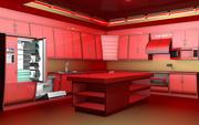 Kitchen red 3d model