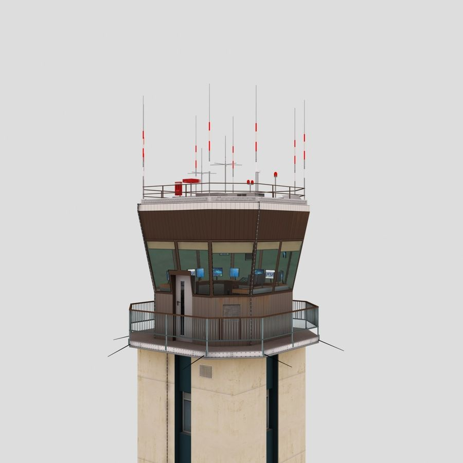 Air Traffic Control Tower royalty-free 3d model - Preview no. 6