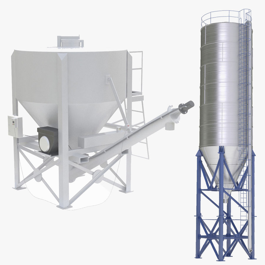 Cement Silo Set royalty-free 3d model - Preview no. 1