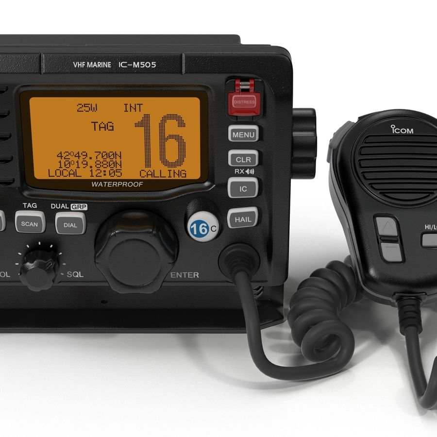 Marine Transceiver and Microphone Icom royalty-free 3d model - Preview no. 16