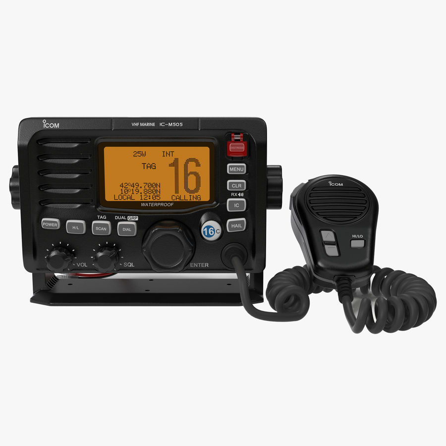 Marine Transceiver and Microphone Icom royalty-free 3d model - Preview no. 1