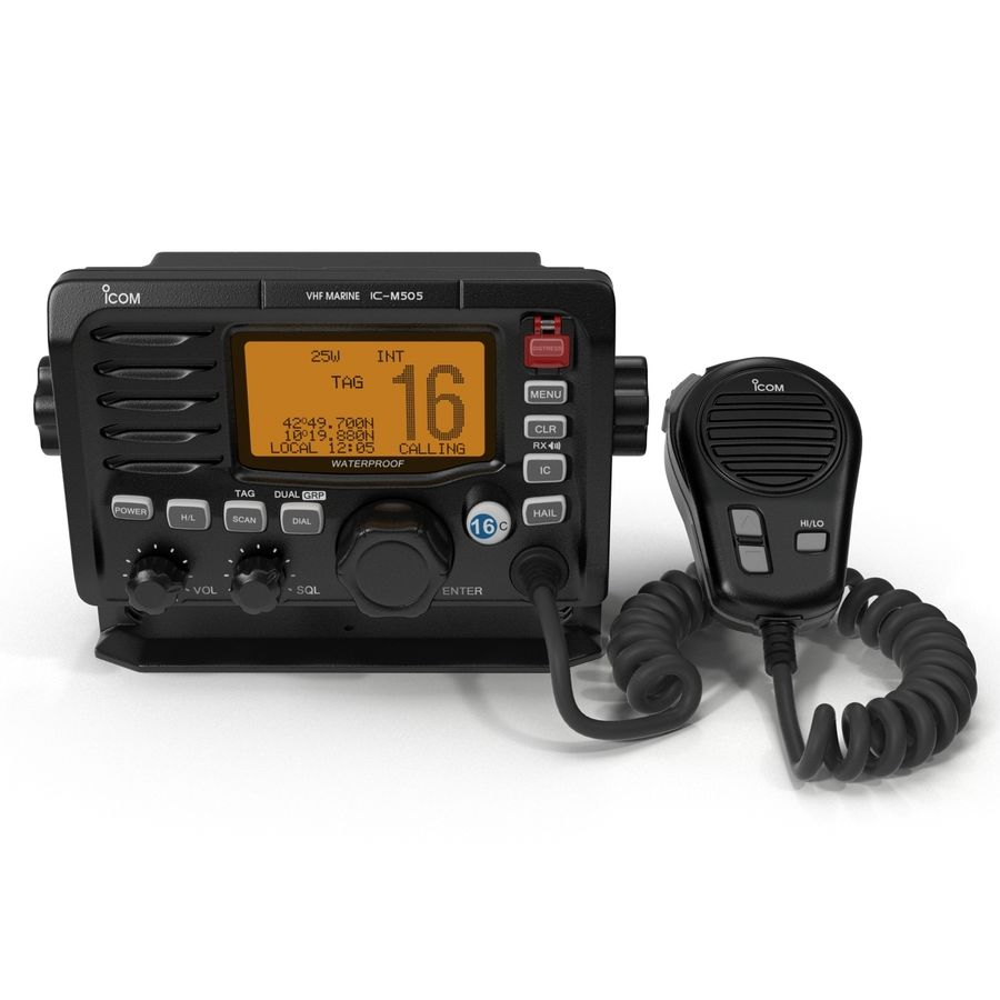 Marine Transceiver and Microphone Icom royalty-free 3d model - Preview no. 3