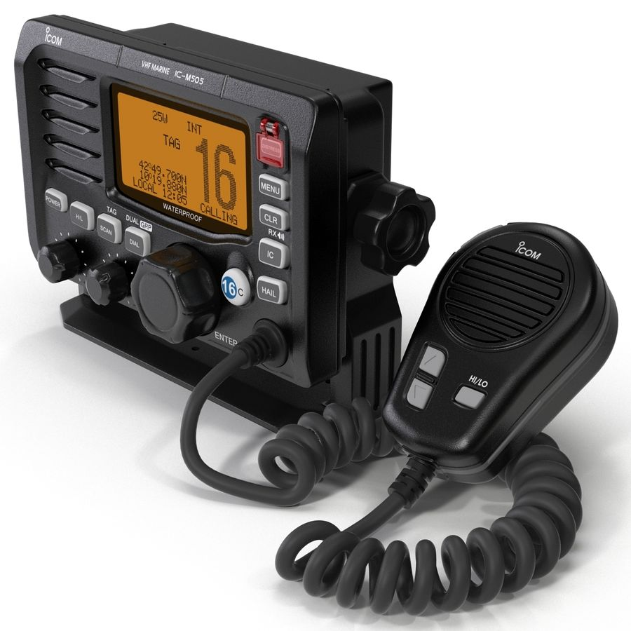 Marine Transceiver and Microphone Icom royalty-free 3d model - Preview no. 4