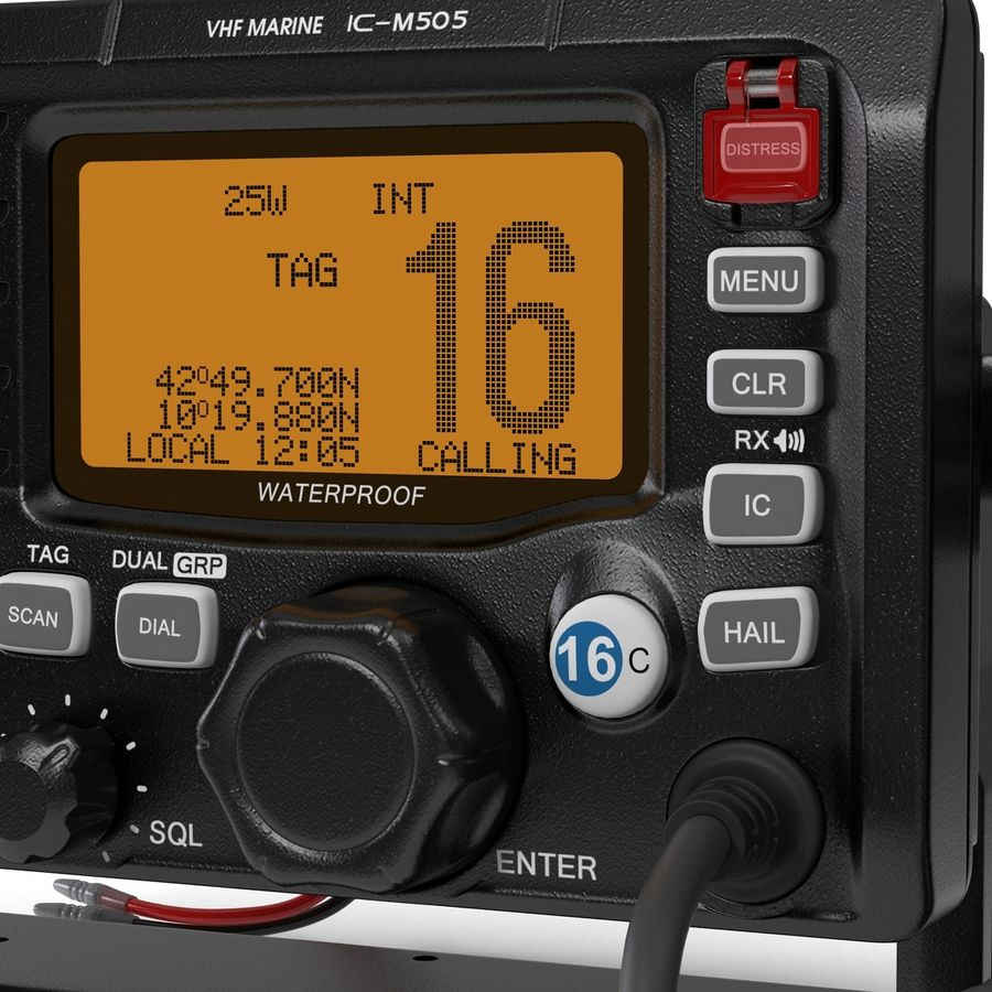 Marine Transceiver and Microphone Icom royalty-free 3d model - Preview no. 13