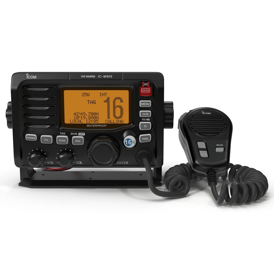 Marine Transceiver and Microphone Icom royalty-free 3d model - Preview no. 2