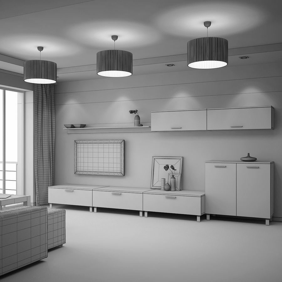 Modern interieur royalty-free 3d model - Preview no. 8