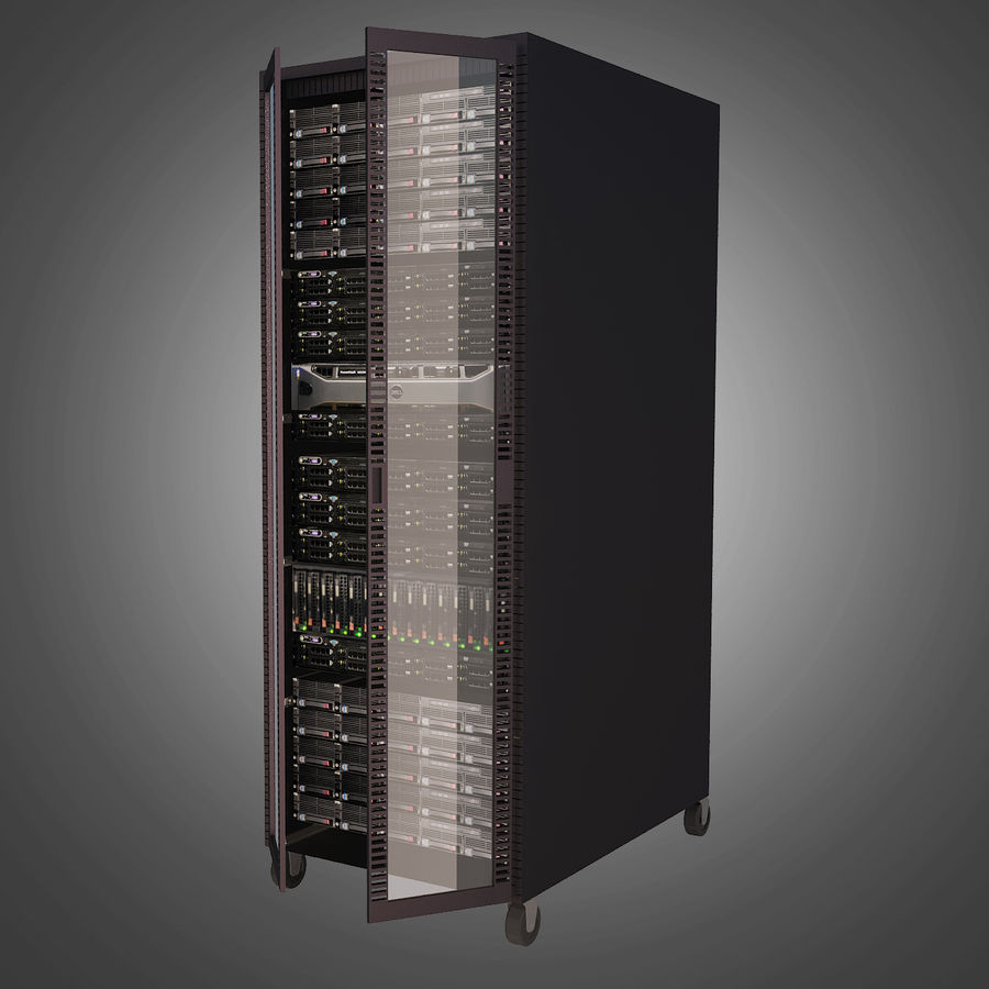 Dell Computer Server Rack royalty-free 3d model - Preview no. 3
