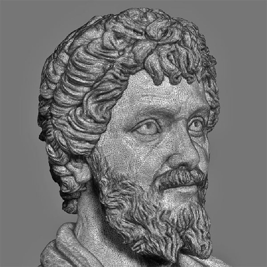 Printable bust of Septimius Severus Emperor royalty-free 3d model - Preview no. 8