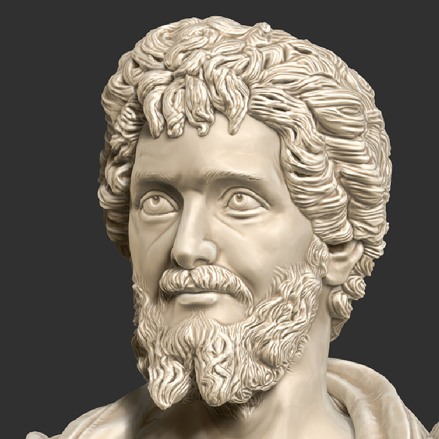 Printable bust of Septimius Severus Emperor royalty-free 3d model - Preview no. 7