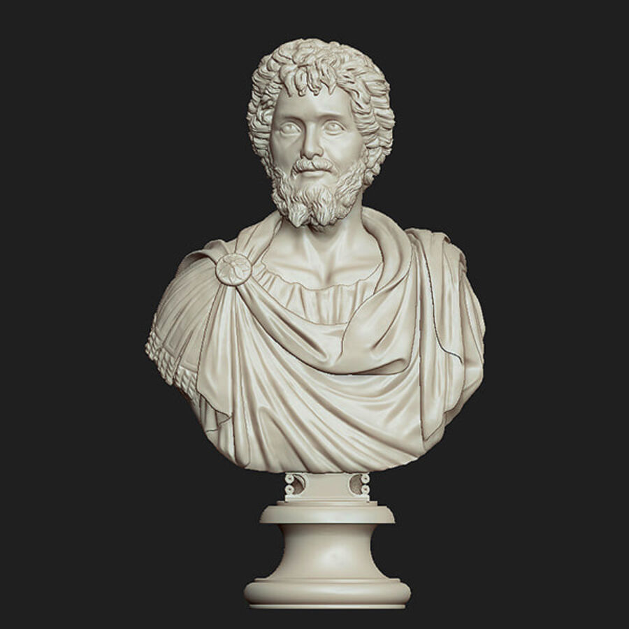 Printable bust of Septimius Severus Emperor royalty-free 3d model - Preview no. 2