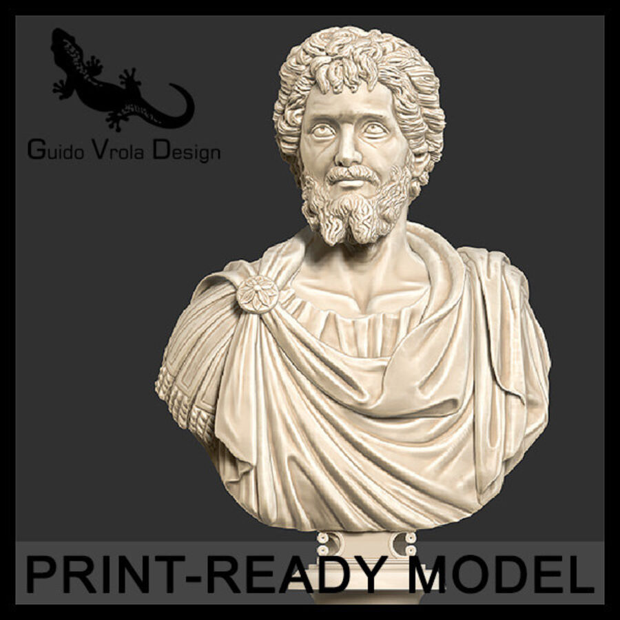 Printable bust of Septimius Severus Emperor royalty-free 3d model - Preview no. 1