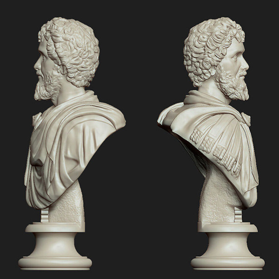 Printable bust of Septimius Severus Emperor royalty-free 3d model - Preview no. 3
