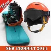 ヘルメットとガラス付きスノーボード 3d model
