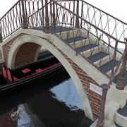 Venedig bro med gondol 3d model