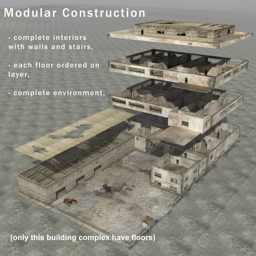 Ruin Destroyed Building City royalty-free 3d model - Preview no. 58