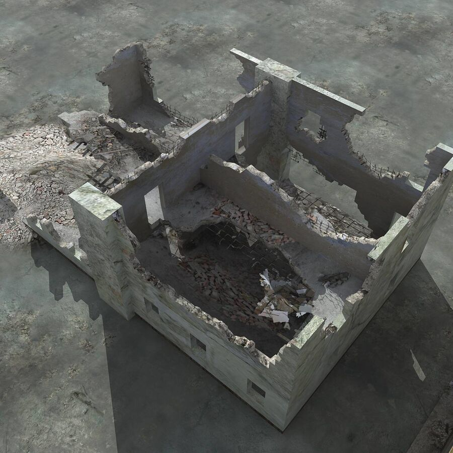 Ruin Destroyed Building City royalty-free 3d model - Preview no. 25