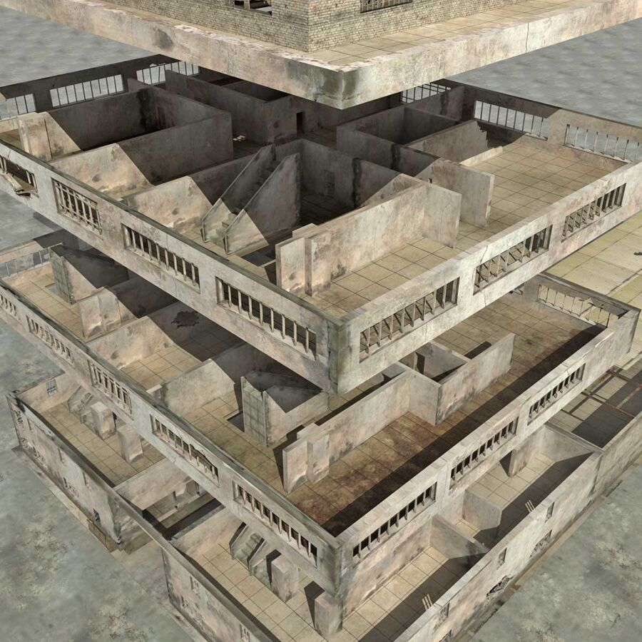 Ruin Destroyed Building City royalty-free 3d model - Preview no. 59