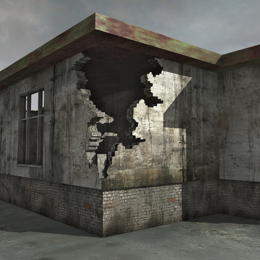Ruin Destroyed Building City royalty-free 3d model - Preview no. 37