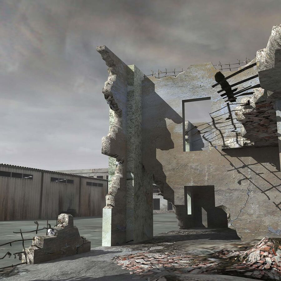 Ruin Destroyed Building City royalty-free 3d model - Preview no. 29