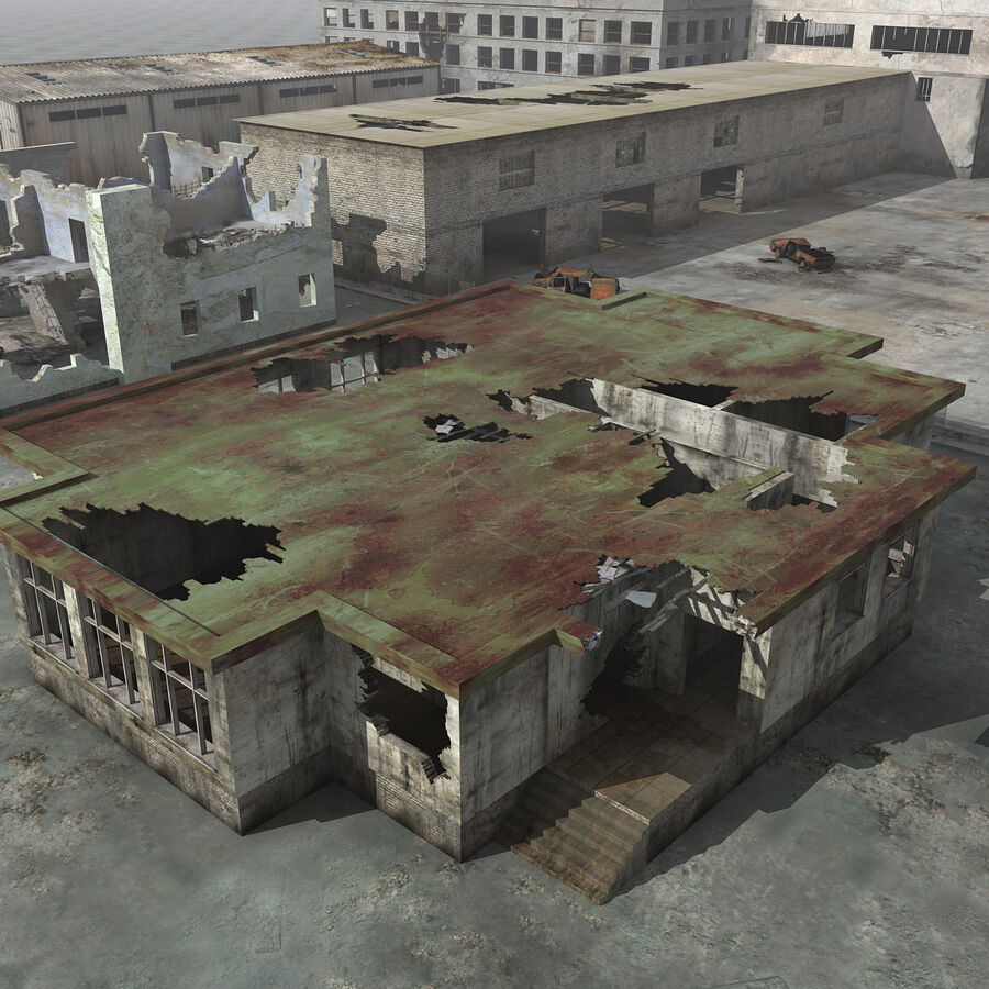 Ruin Destroyed Building City royalty-free 3d model - Preview no. 32