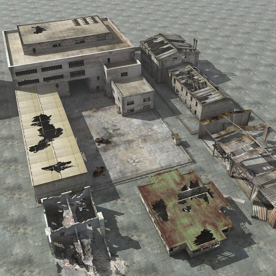 Ruin Destroyed Building City royalty-free 3d model - Preview no. 5