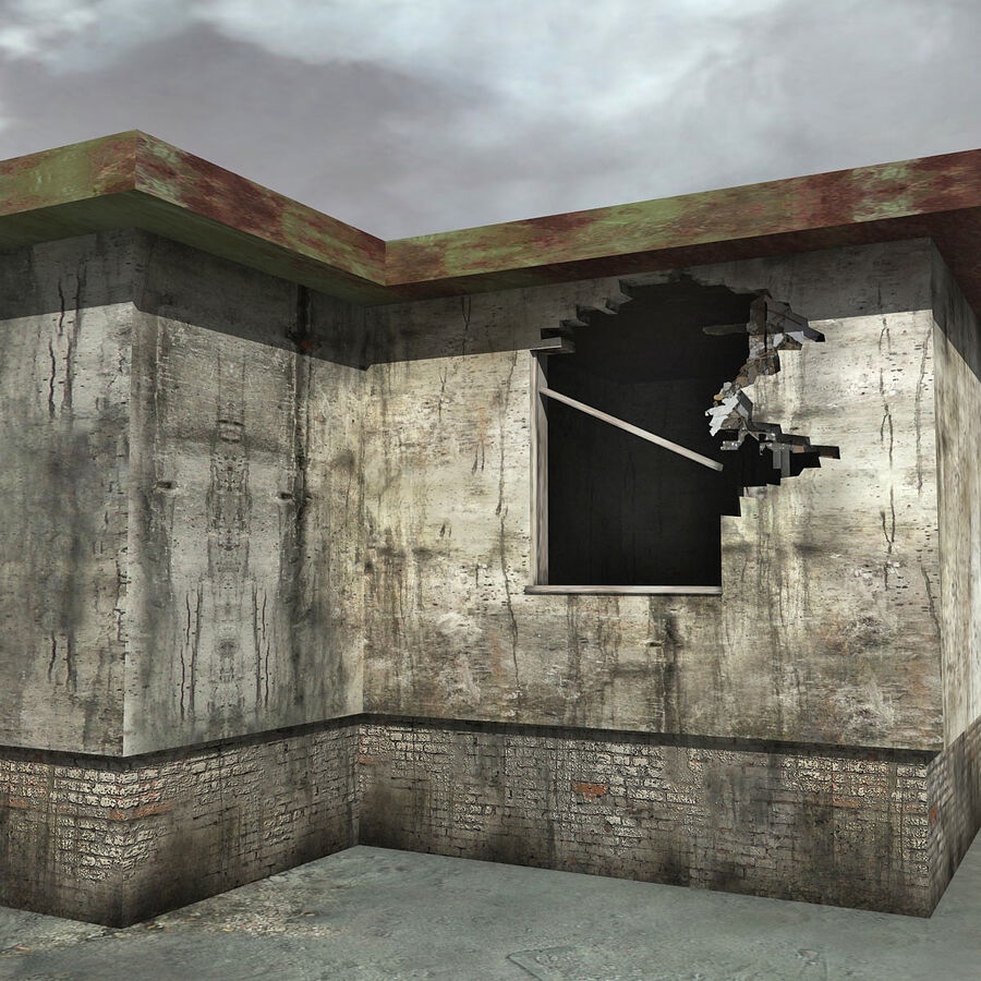 Ruin Destroyed Building City royalty-free 3d model - Preview no. 38