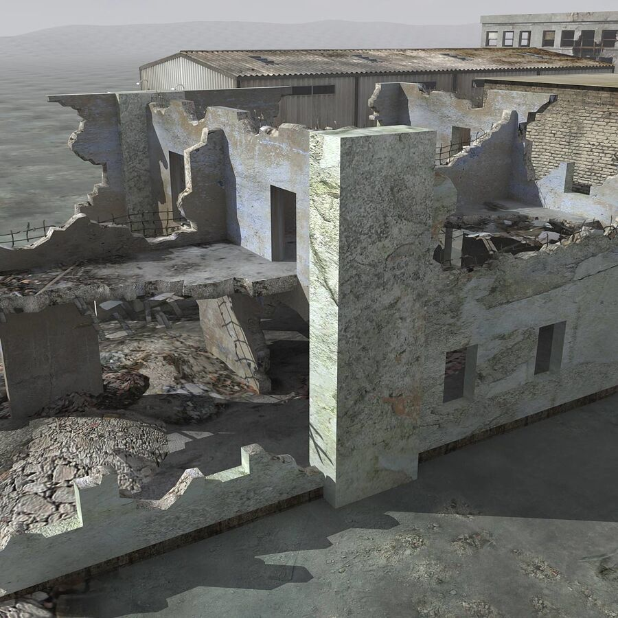 Ruin Destroyed Building City royalty-free 3d model - Preview no. 24