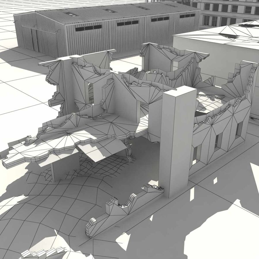 Ruin Destroyed Building City royalty-free 3d model - Preview no. 64