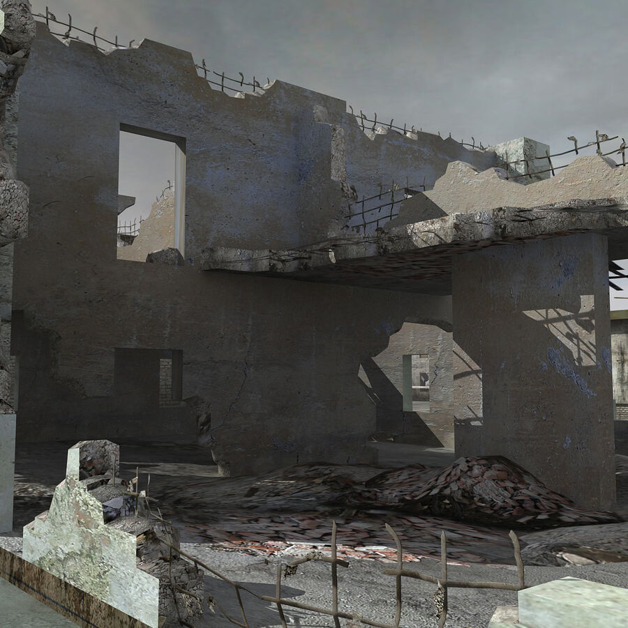 Ruin Destroyed Building City royalty-free 3d model - Preview no. 30