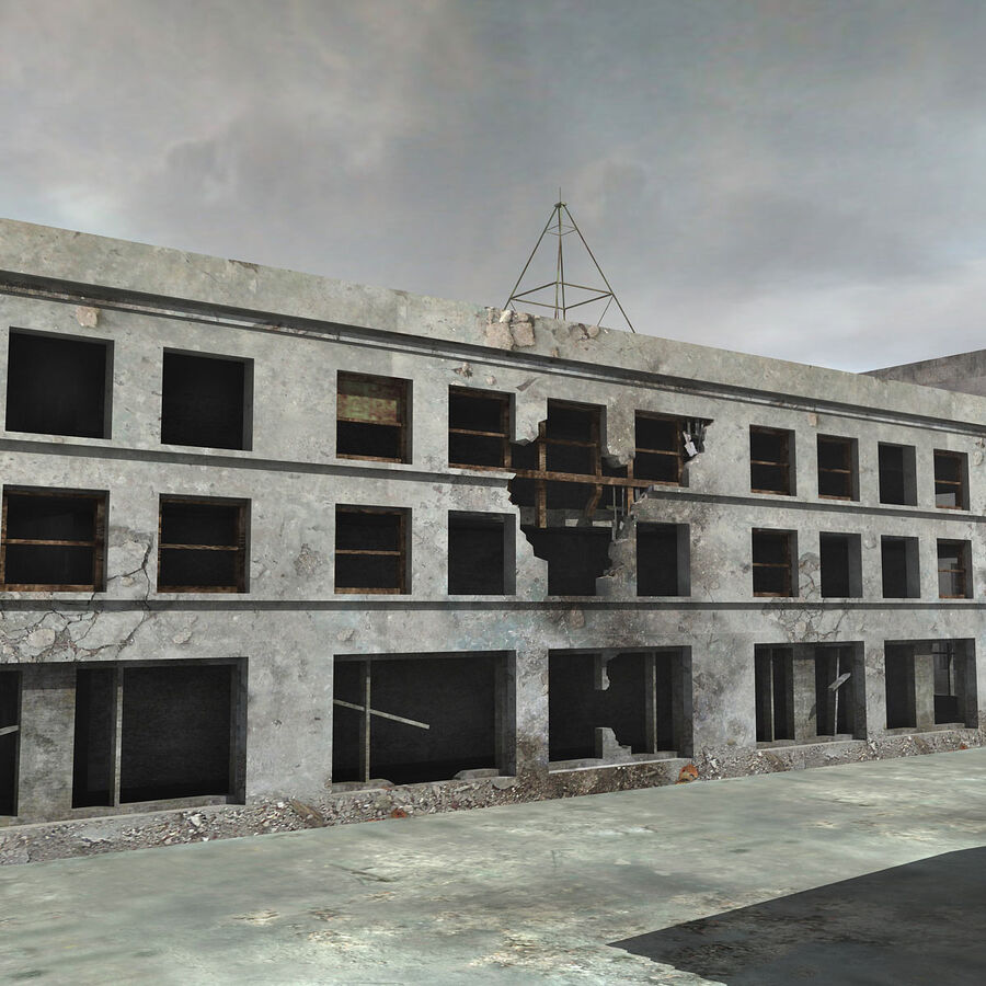 Ruin Destroyed Building City royalty-free 3d model - Preview no. 42