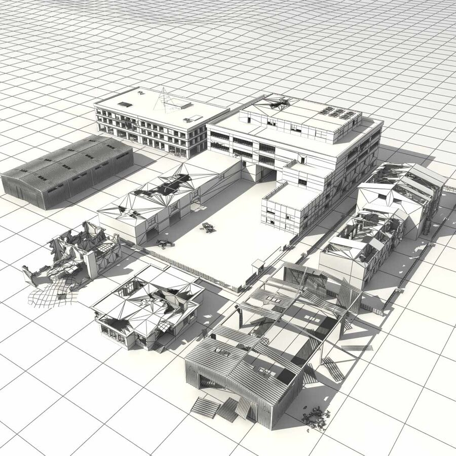 Ruin Destroyed Building City royalty-free 3d model - Preview no. 61