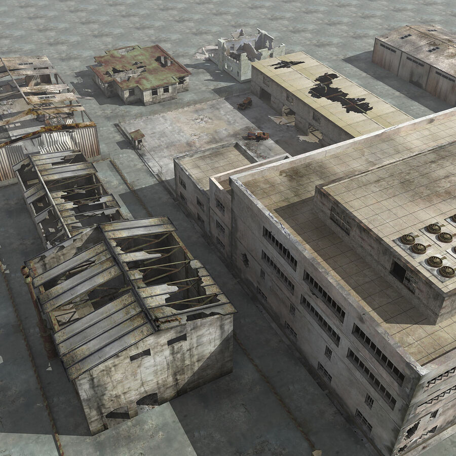Ruin Destroyed Building City royalty-free 3d model - Preview no. 4