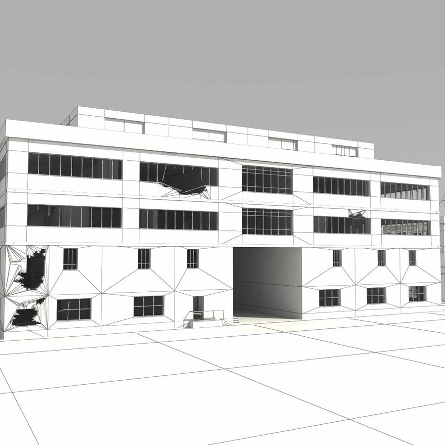 Ruin Destroyed Building City royalty-free 3d model - Preview no. 63