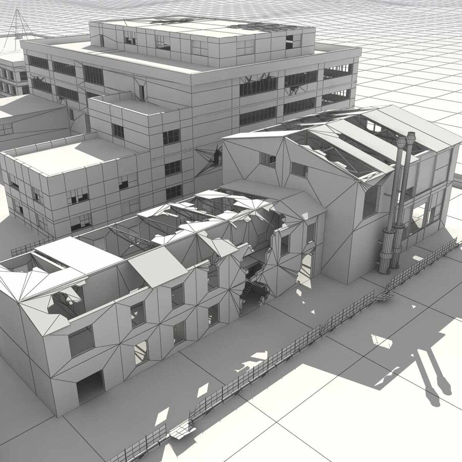 Ruin Destroyed Building City royalty-free 3d model - Preview no. 65
