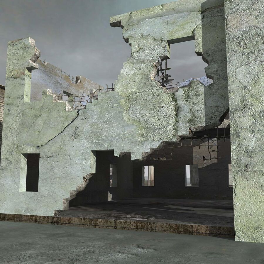 Ruin Destroyed Building City royalty-free 3d model - Preview no. 28