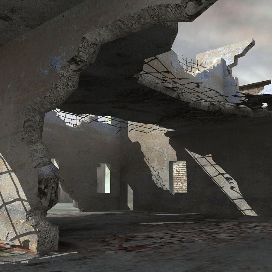 Ruin Destroyed Building City royalty-free 3d model - Preview no. 31