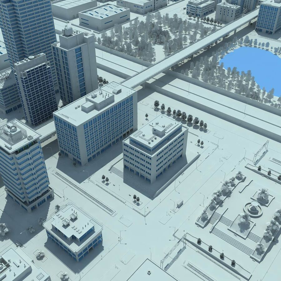 City Grey Cityscape royalty-free 3d model - Preview no. 3