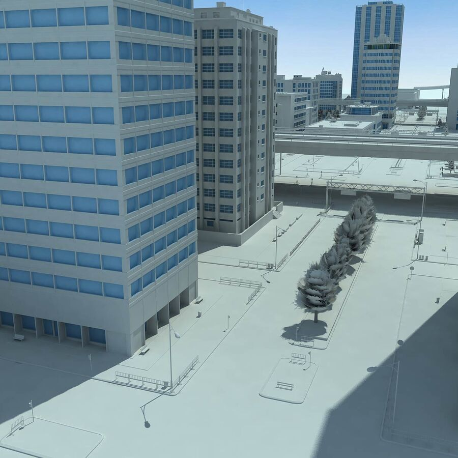 City Grey Cityscape royalty-free 3d model - Preview no. 15
