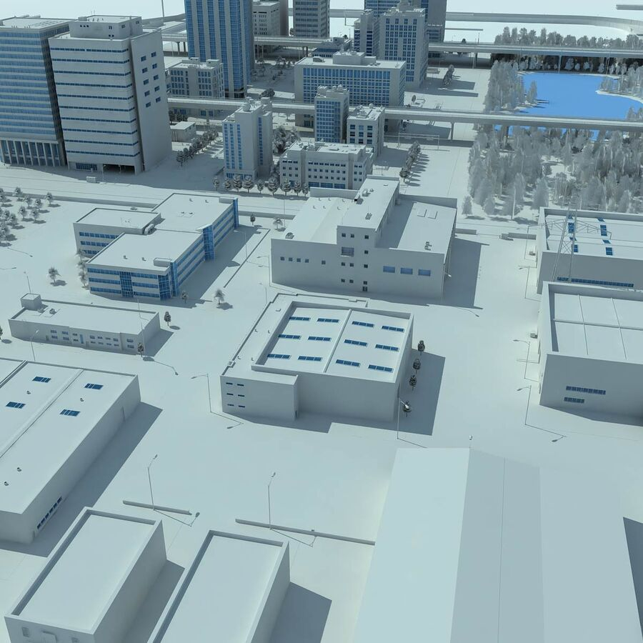 City Grey Cityscape royalty-free 3d model - Preview no. 6