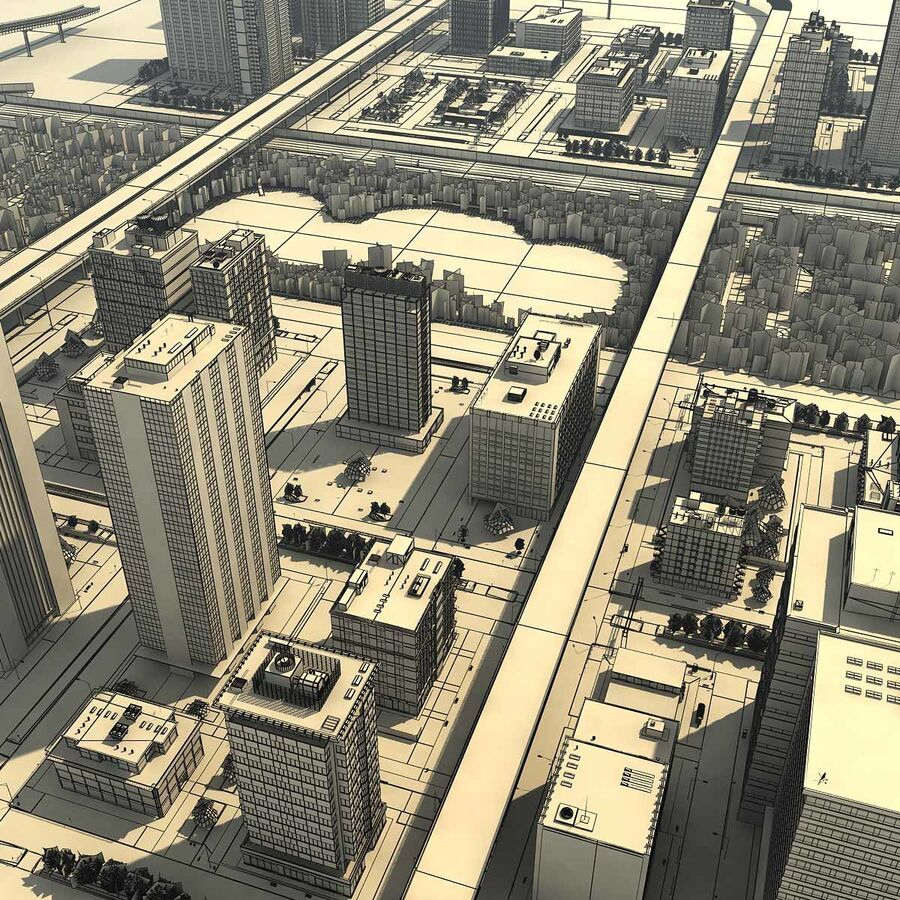 City Grey Cityscape royalty-free 3d model - Preview no. 24