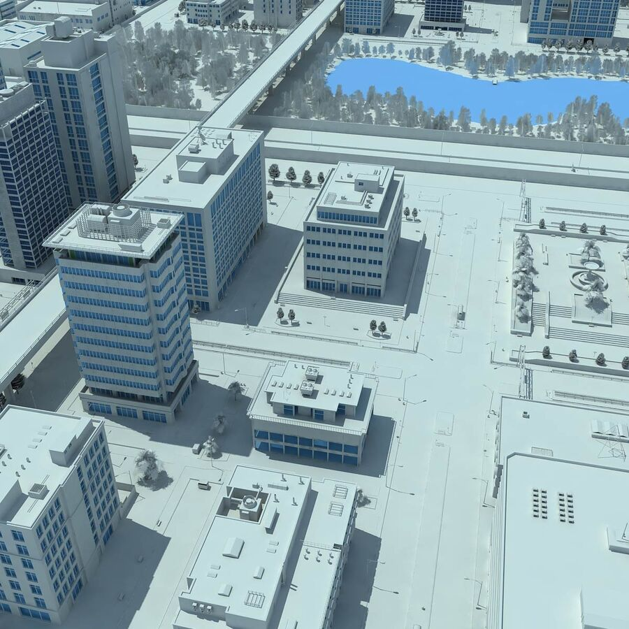 City Grey Cityscape royalty-free 3d model - Preview no. 11