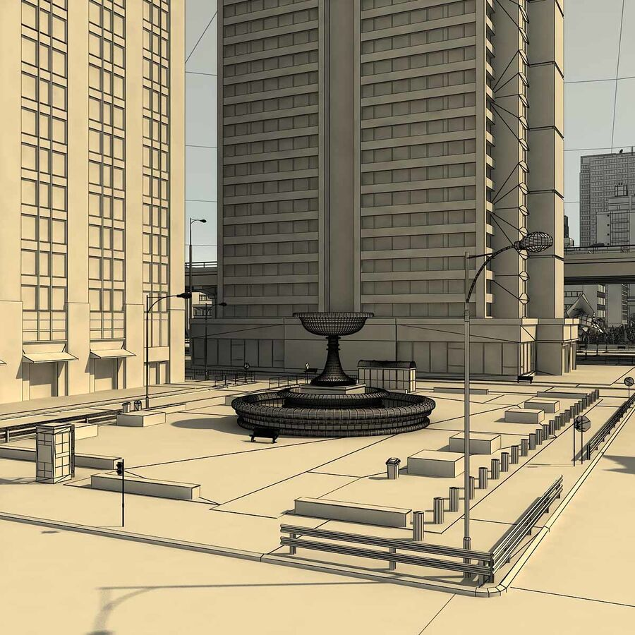 City Grey Cityscape royalty-free 3d model - Preview no. 26